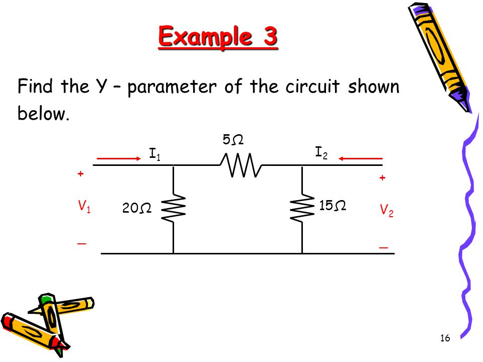 16 Example 3 Find the Y – parameter of the circuit shown below.