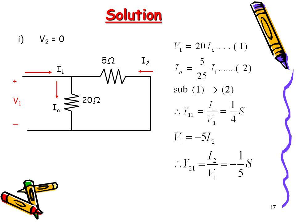 17 Solution i)V 2 = 0 5Ω5Ω 20Ω +V1_+V1_ I1I1 I2I2 IaIa
