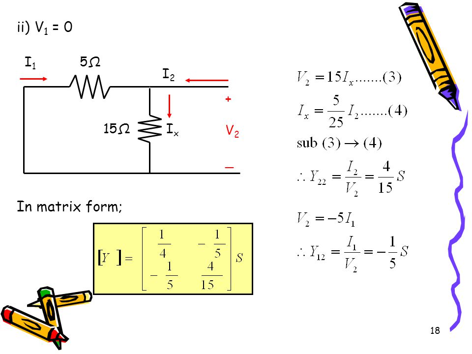 18 ii) V 1 = 0 In matrix form; 5Ω5Ω 15Ω +V2_+V2_ I1I1 I2I2 IxIx