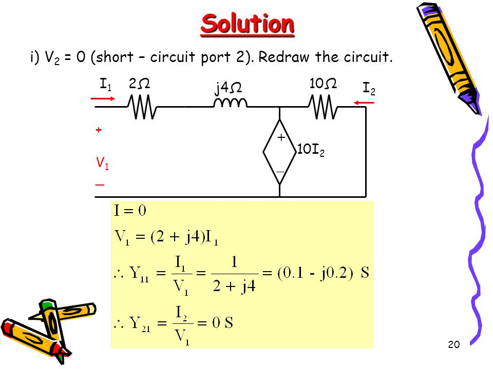 20Solution i) V 2 = 0 (short – circuit port 2).Redraw the circuit.
