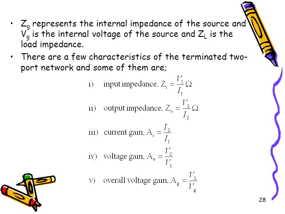 28 Z g represents the internal impedance of the source and V g is the internal voltage of the source and Z L is the load impedance.
