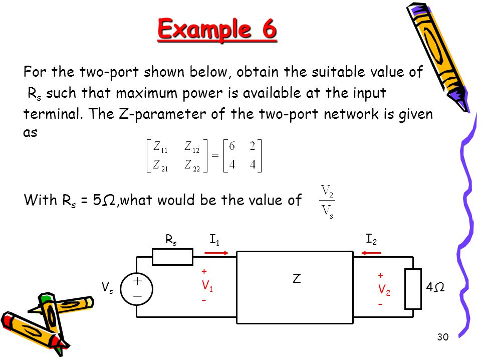30 Example 6 For the two-port shown below, obtain the suitable value of R s such that maximum power is available at the input terminal.