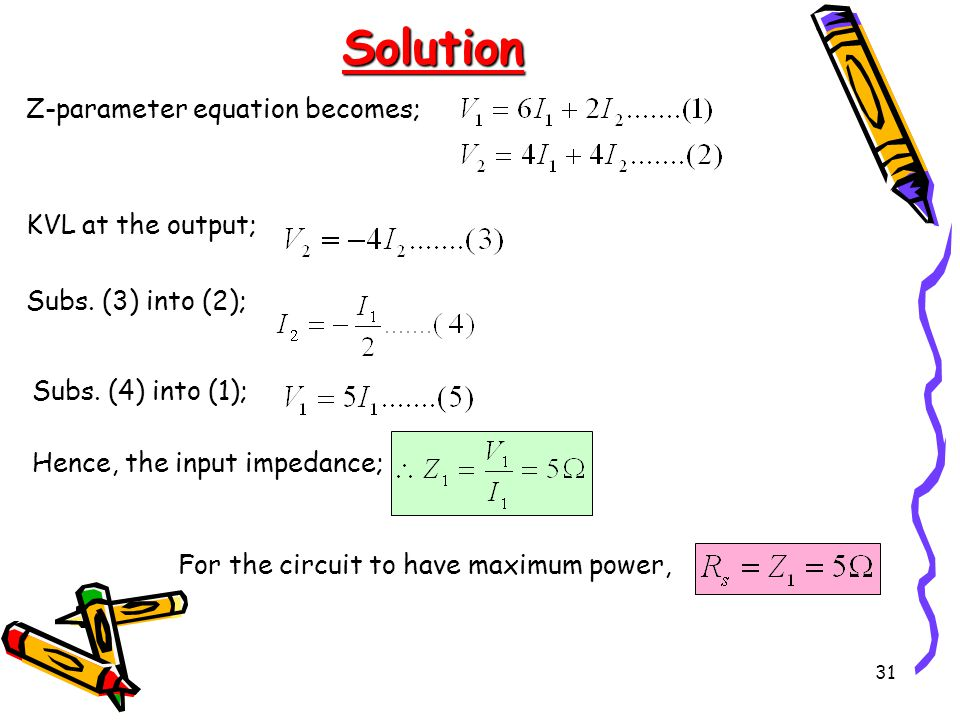 31 Solution Z-parameter equation becomes; KVL at the output; Subs.