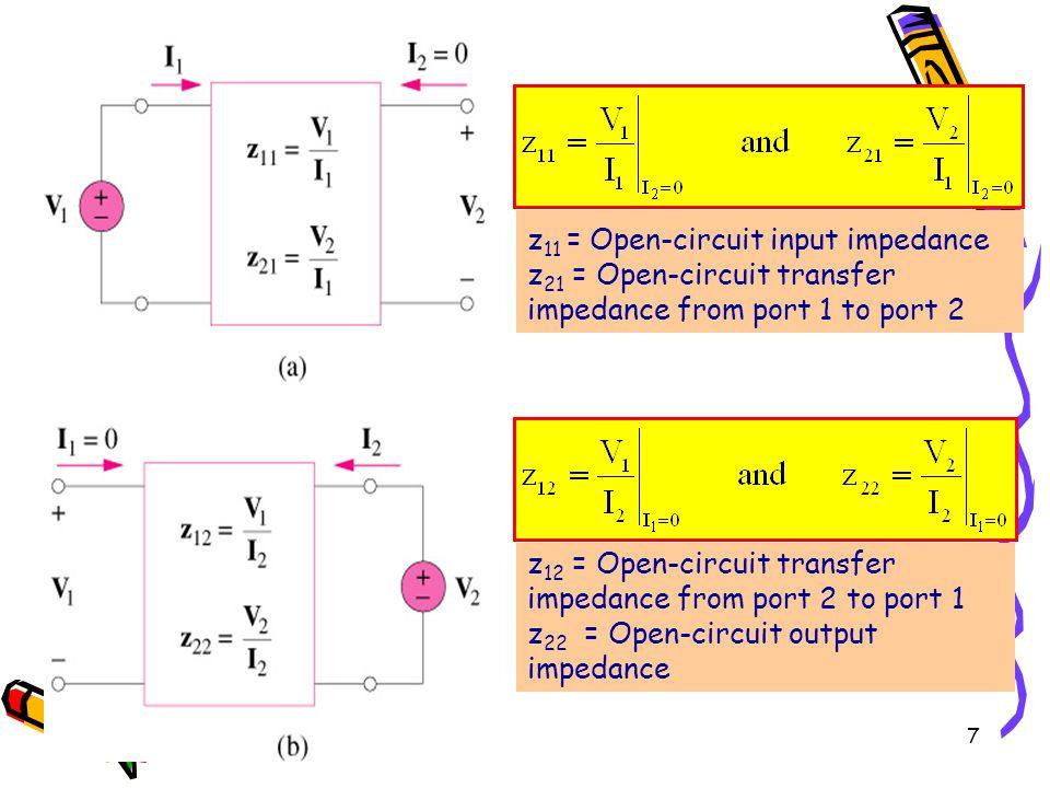 7 z 11 = Open-circuit input impedance z 21 = Open-circuit transfer impedance from port 1 to port 2 z 12 = Open-circuit transfer impedance from port 2 to port 1 z 22 = Open-circuit output impedance