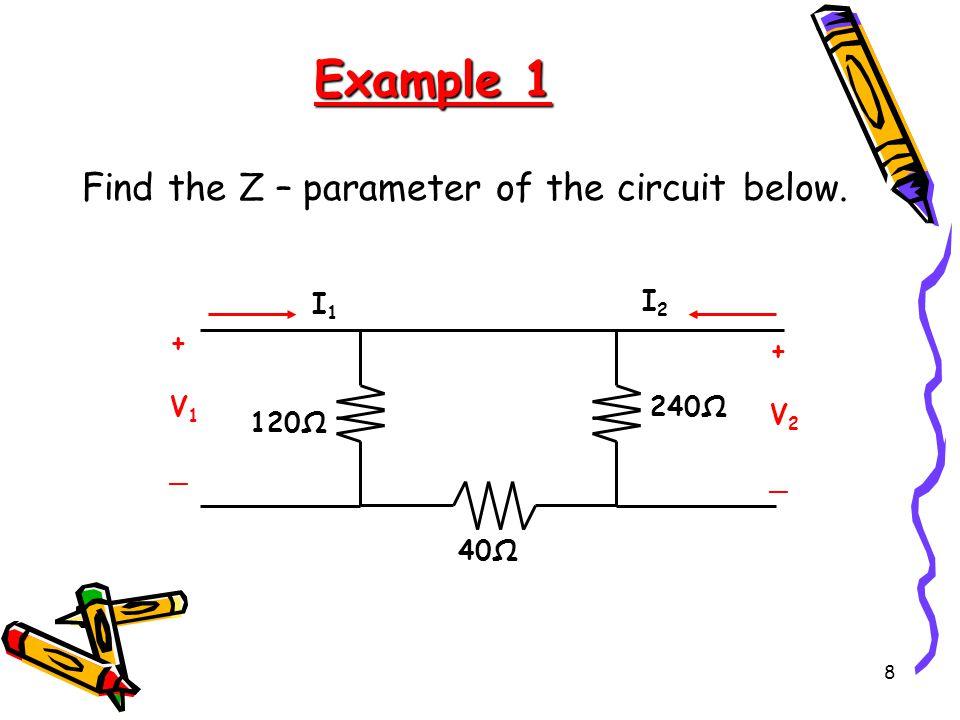 8 Example 1 Find the Z – parameter of the circuit below. 40Ω 240Ω 120Ω +V1_+V1_ +V2_+V2_ I1I1 I2I2