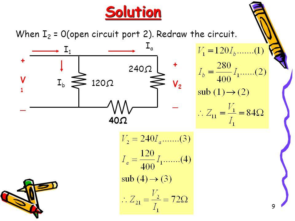 9 Solution 40Ω 240Ω 120Ω +V1_+V1_ +V2_+V2_ I1I1 IaIa IbIb When I 2 = 0(open circuit port 2).