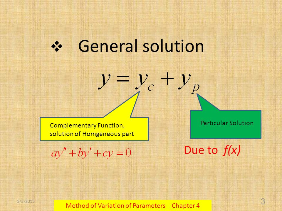 5/3/2015 Method of Variation of Parameters Chapter 4 4 This method can be applied to any non-homogeneous differential equation no matter What the coefficients and the function f(x) are.