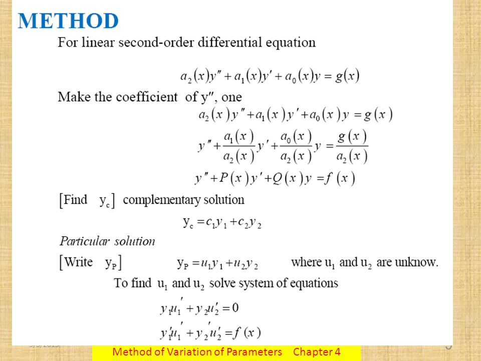 5/3/2015 Method of Variation of Parameters Chapter 4 5