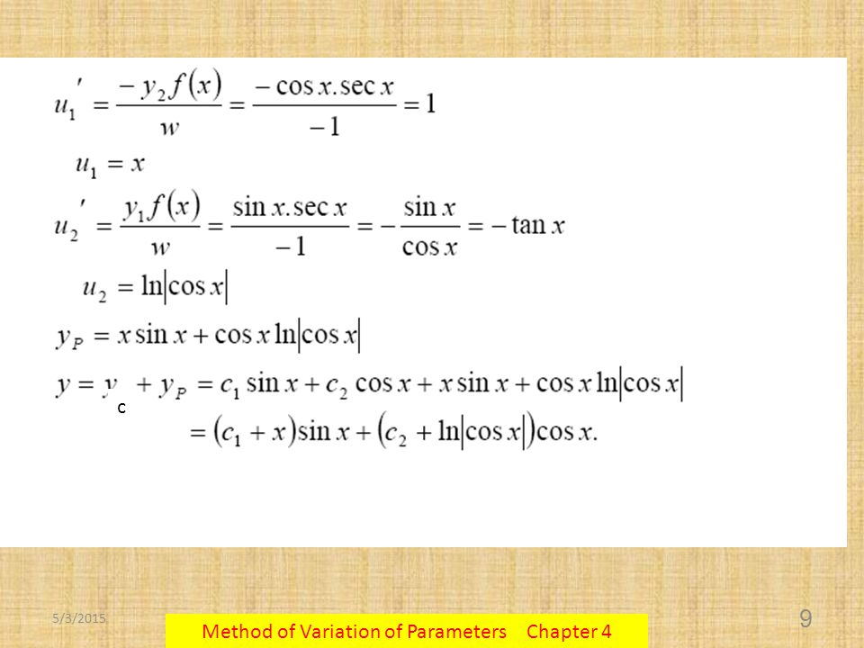 5/3/2015 Method of Variation of Parameters Chapter 4 10