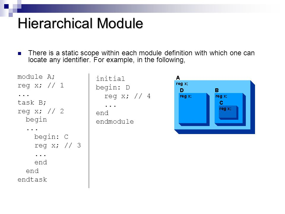 Reference to Scopes within Module there is a module, a task, and two named blocks.