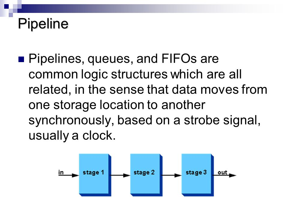 Pipeline Coding module pipeline (out, in, clock); output out; input in, clock; reg out, pipe[1:2]; always @(posedge clock) begin out = pipe[2]; pipe[2] = pipe[1]; pipe[1] = in; end endmodule This code works fine.