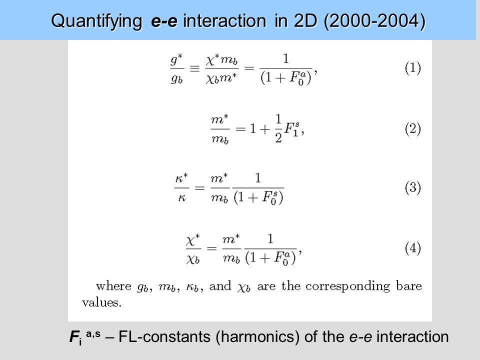 Quantifying e-e interaction in 2D (2000-2004) F i a,s – FL-constants (harmonics) of the e-e interaction