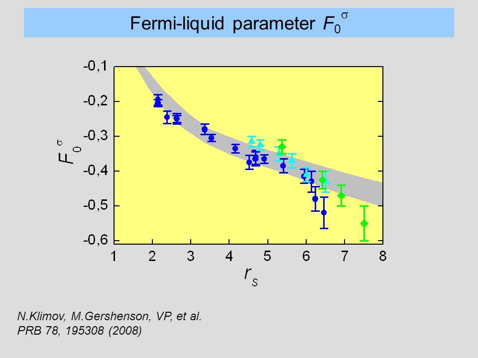 Fermi-liquid parameter F 0  N.Klimov, M.Gershenson, VP, et al. PRB 78, 195308 (2008)
