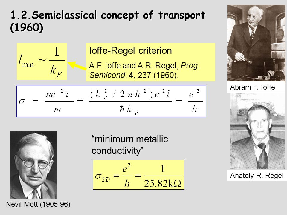 Possible behavior of resistivity (dimensionality is irrelevant): Semiclassical picture: MIT at T = 0 (1970's)