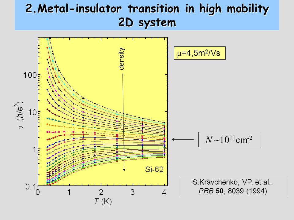 2.Metal-insulator transition in high mobility 2D system S.Kravchenko, VP, et al., PRB 50, 8039 (1994) N ~10 11 cm -2 density  =4,5m 2 /Vs