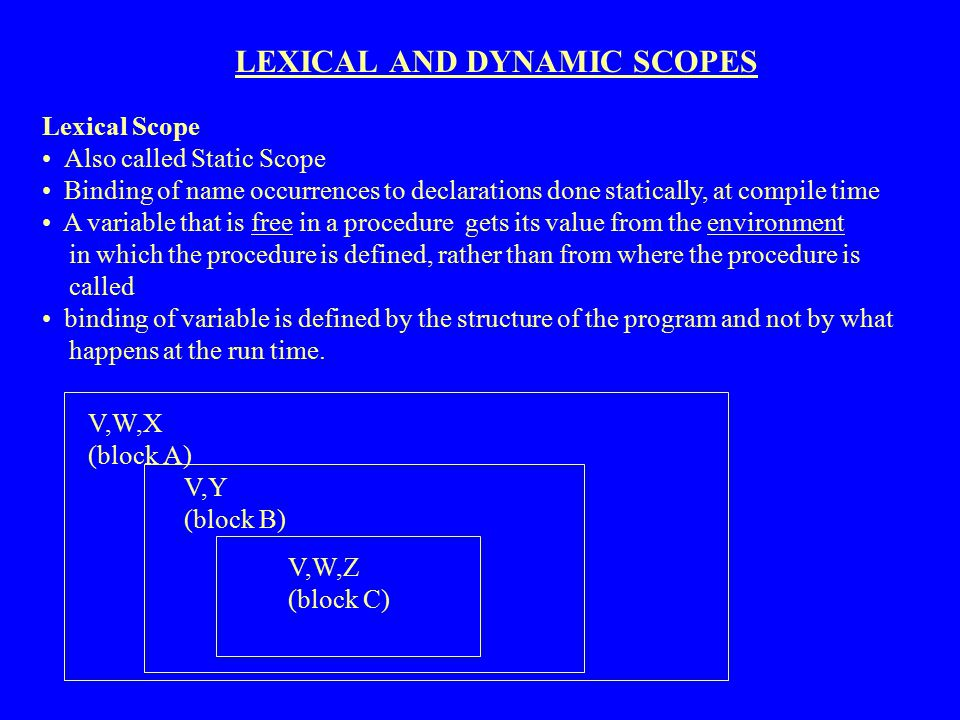 LEXICAL AND DYNAMIC SCOPES Lexical Scope Also called Static Scope Binding of name occurrences to declarations done statically, at compile time A varia