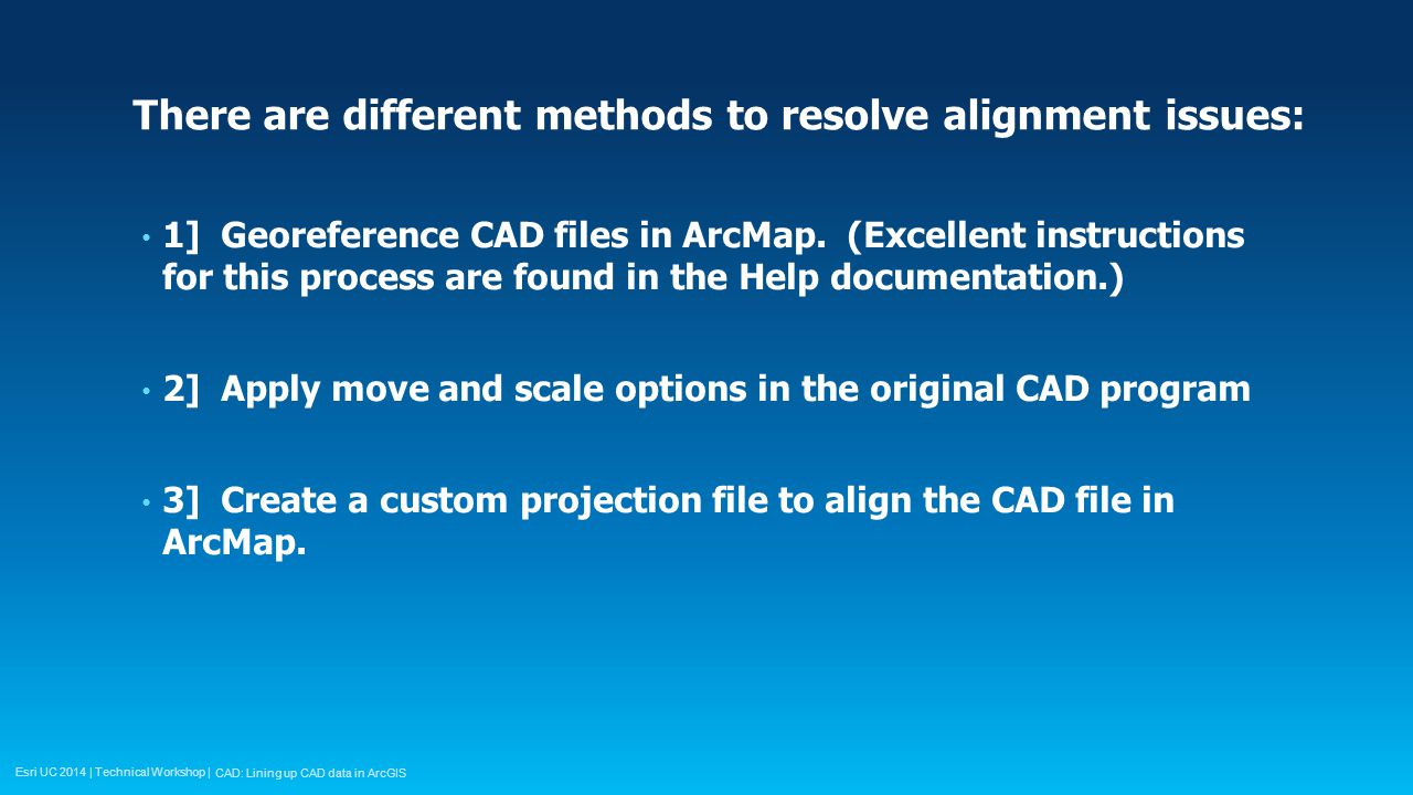 Esri UC 2014 | Technical Workshop | There are different methods to resolve alignment issues: 1] Georeference CAD files in ArcMap.