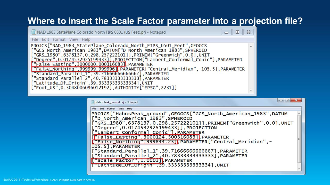 Esri UC 2014 | Technical Workshop | Where is the Scale Factor parameter inserted into the PRJ file.