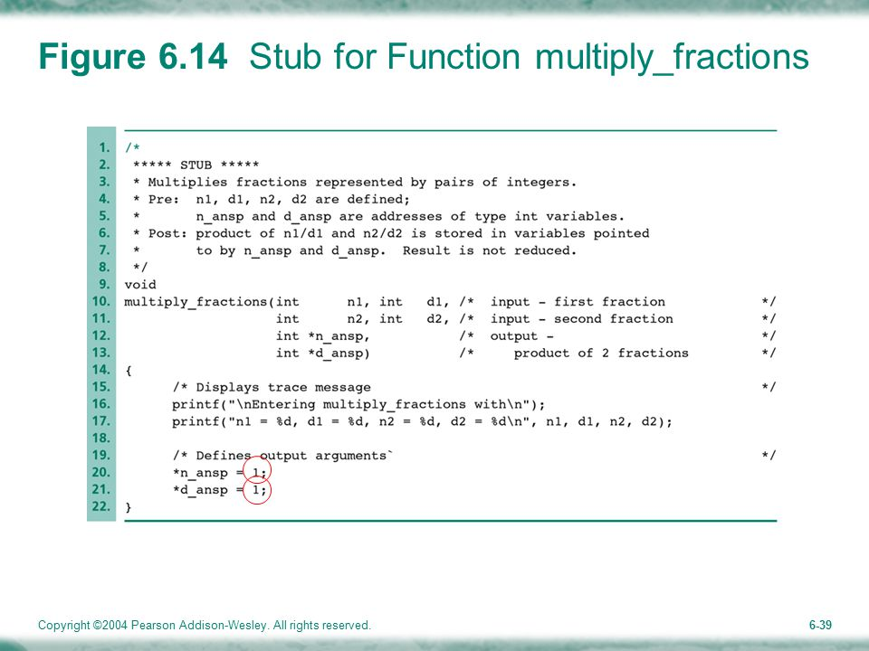 Copyright ©2004 Pearson Addison-Wesley. All rights reserved.6-39 Figure 6.14 Stub for Function multiply_fractions