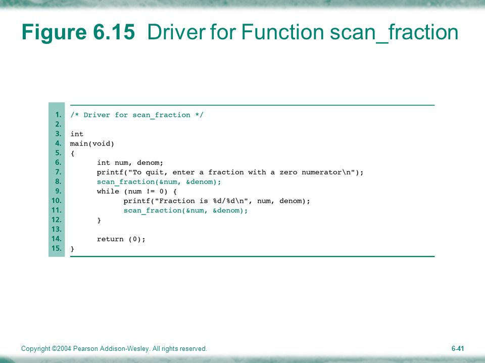 Copyright ©2004 Pearson Addison-Wesley. All rights reserved.6-41 Figure 6.15 Driver for Function scan_fraction