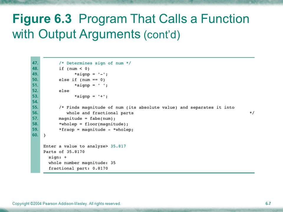 Copyright ©2004 Pearson Addison-Wesley. All rights reserved.6-7 Figure 6.3 Program That Calls a Function with Output Arguments (cont'd)
