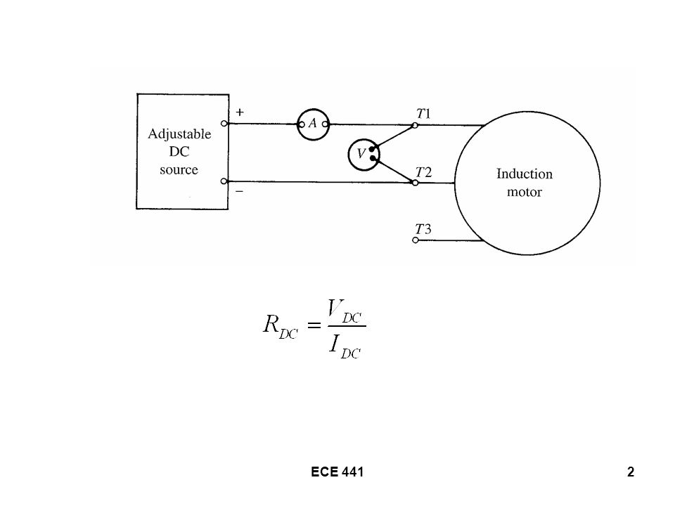 ECE 44113 Electrical connection for the No-Load Test is the same as for the Blocked-Rotor Test