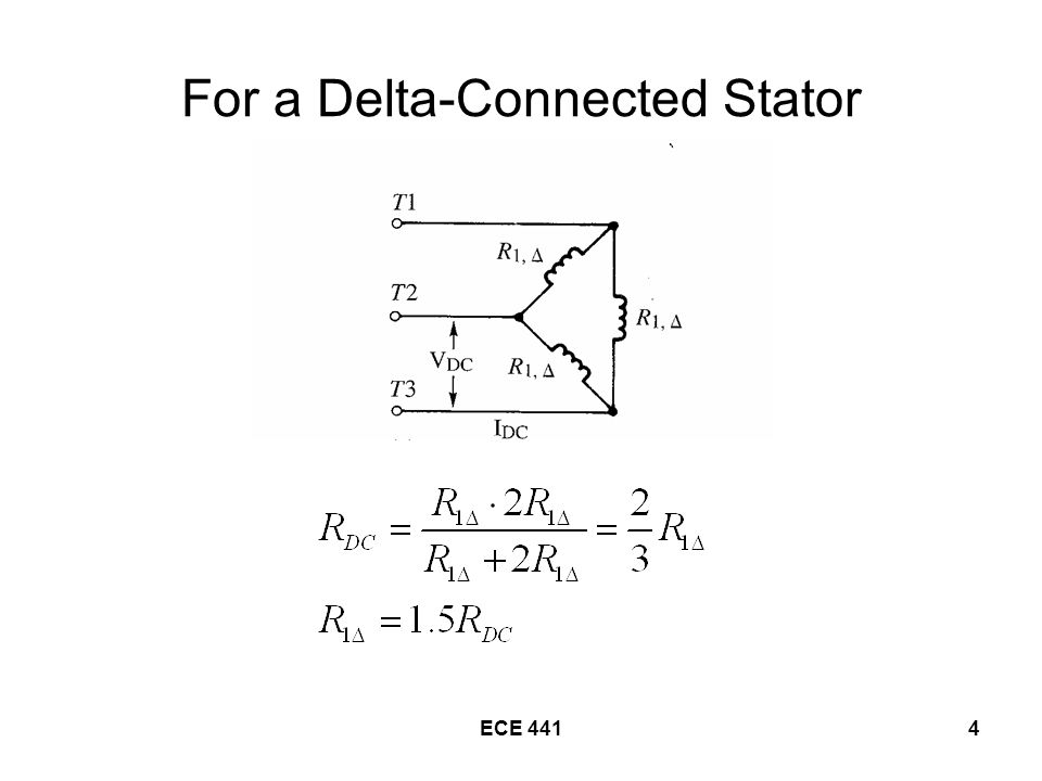 ECE 4415 Determination of Induction-Motor Parameters Blocked-Rotor Test –Determine X 1 and X 2 –Determines R 2 when combined with data from the DC Test –Block the rotor so that it will not turn –Connect to a variable-voltage AC supply and adjust until the blocked-rotor current is equal to the rated current