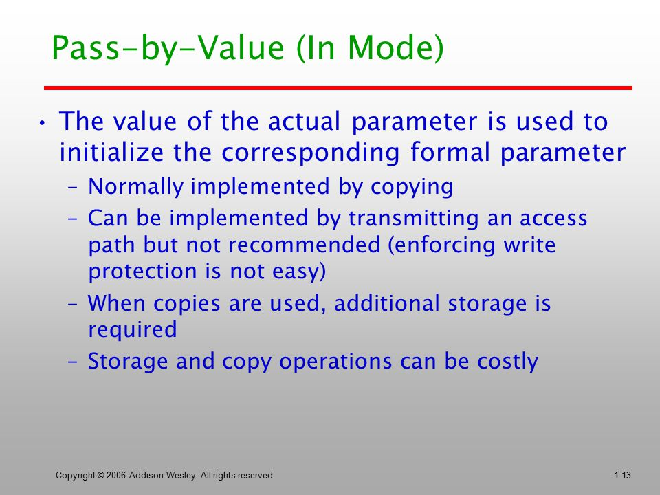 Copyright © 2006 Addison-Wesley. All rights reserved.1-13 Pass-by-Value (In Mode) The value of the actual parameter is used to initialize the correspo