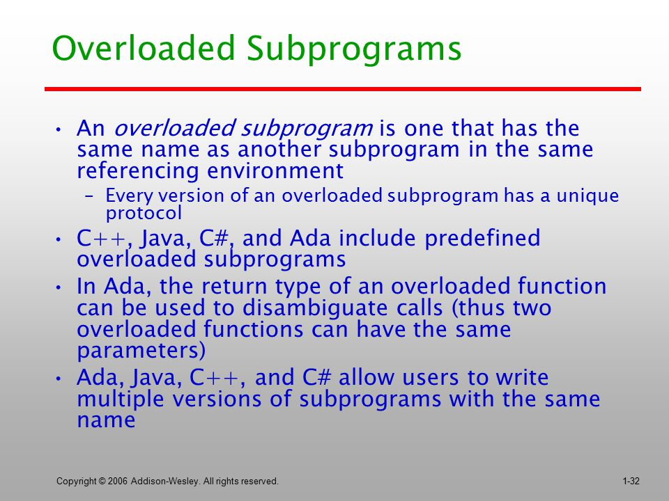 Copyright © 2006 Addison-Wesley. All rights reserved.1-32 Overloaded Subprograms An overloaded subprogram is one that has the same name as another sub