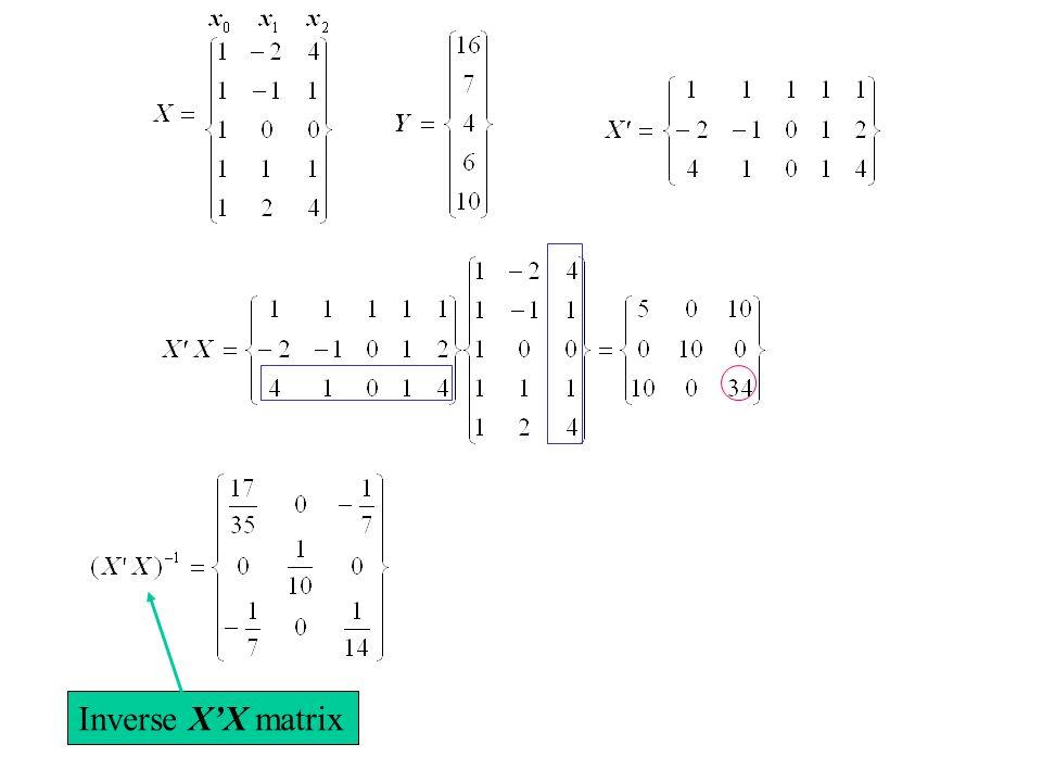 Inverse X'X matrix