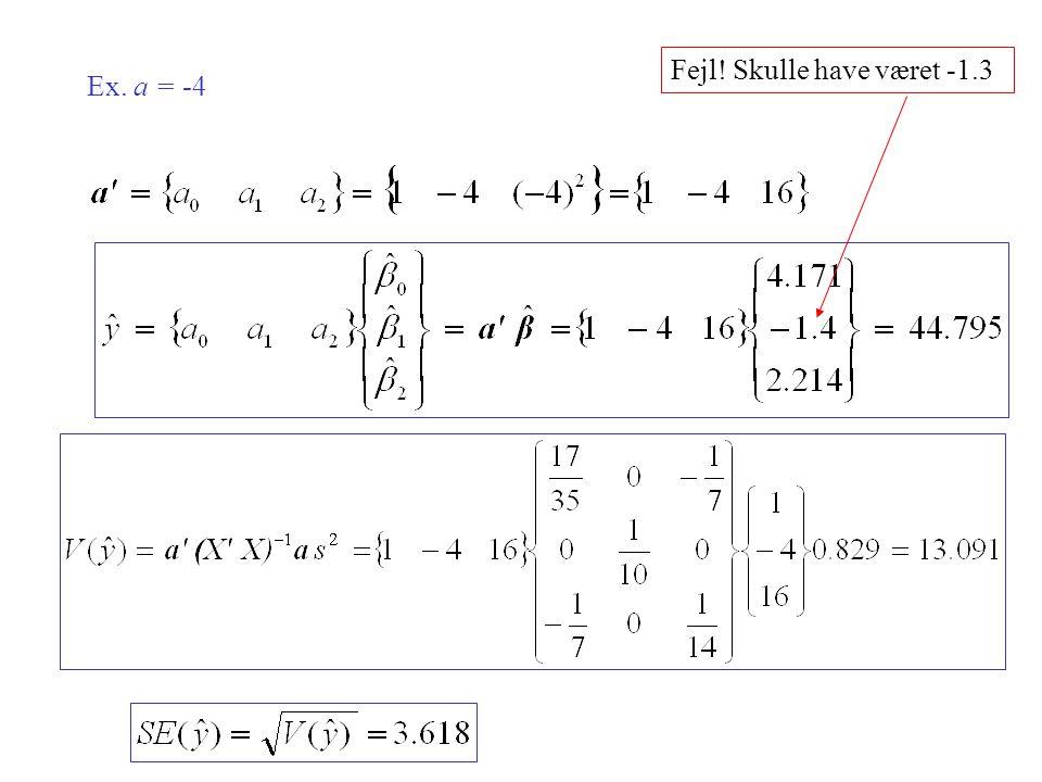 Ex. a = -4 Fejl! Skulle have været -1.3