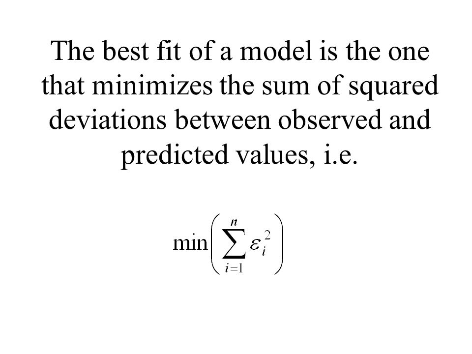 The best fit of a model is the one that minimizes the sum of squared deviations between observed and predicted values, i.e.