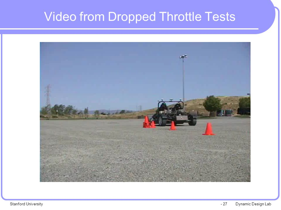 Dynamic Design LabStanford University- 27 Video from Dropped Throttle Tests