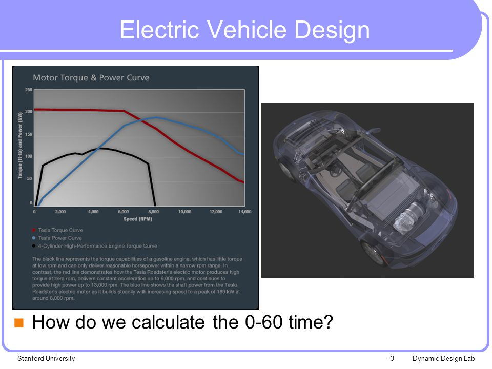 Dynamic Design LabStanford University- 3 Electric Vehicle Design How do we calculate the 0-60 time