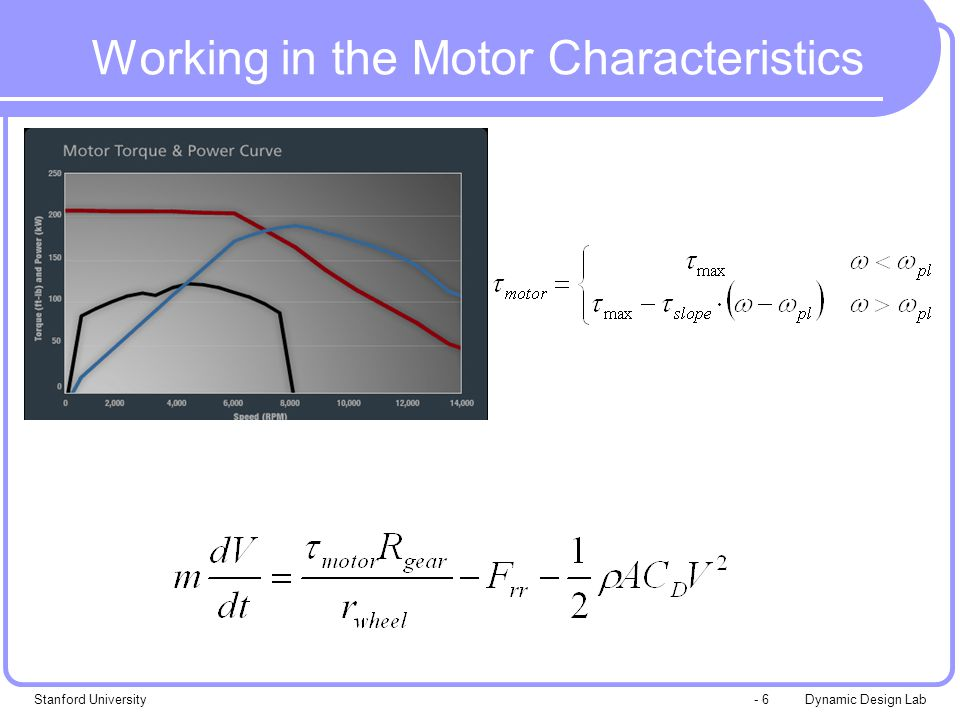 Dynamic Design LabStanford University- 7 Working in the Motor Characteristics