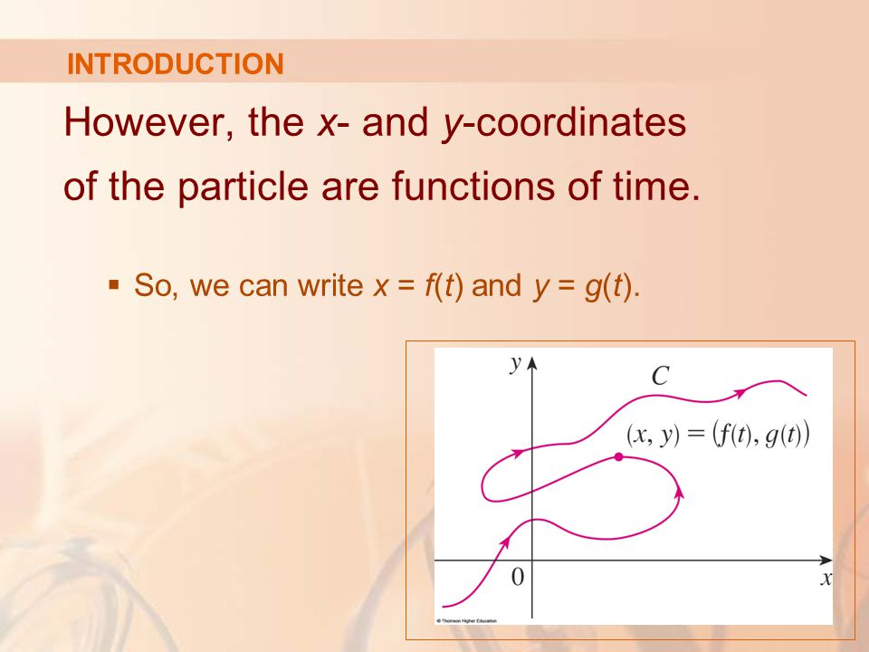 However, the x- and y-coordinates of the particle are functions of time.