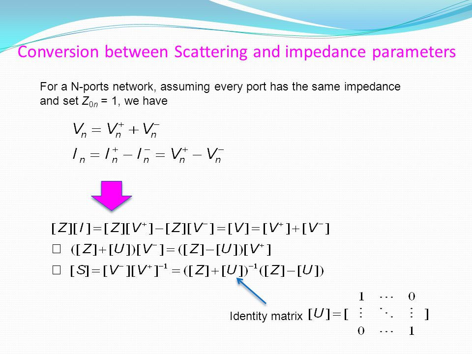 Conversion between Scattering and impedance parameters For a N-ports network, assuming every port has the same impedance and set Z 0n = 1, we have Identity matrix