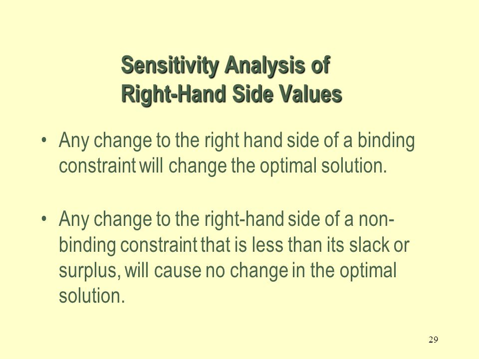 28 In sensitivity analysis of right-hand sides of constraints we are interested in the following questions: –Keeping all other factors the same, how much would the optimal value of the objective function (for example, the profit) change if the right-hand side of a constraint changed by one unit.