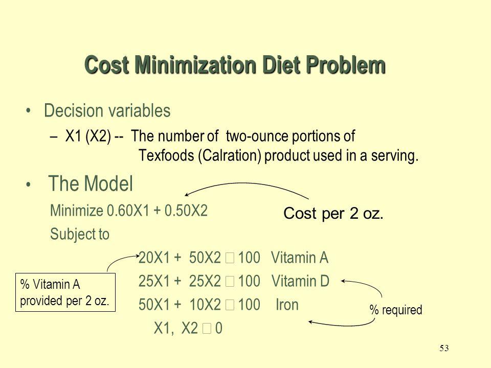 52 2.8 Cost Minimization Diet Problem 2.8 Cost Minimization Diet Problem Mix two sea ration products: Texfoods, Calration.