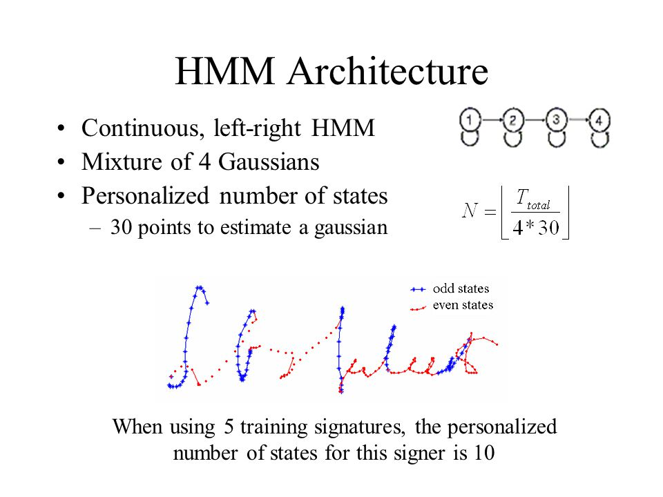 HMM Architecture Continuous, left-right HMM Mixture of 4 Gaussians Personalized number of states –30 points to estimate a gaussian When using 5 training signatures, the personalized number of states for this signer is 10