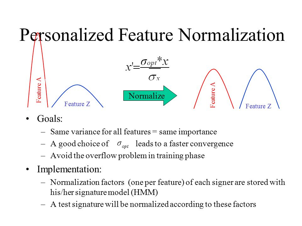 Personalized Feature Normalization Goals: –Same variance for all features = same importance –A good choice of leads to a faster convergence –Avoid the