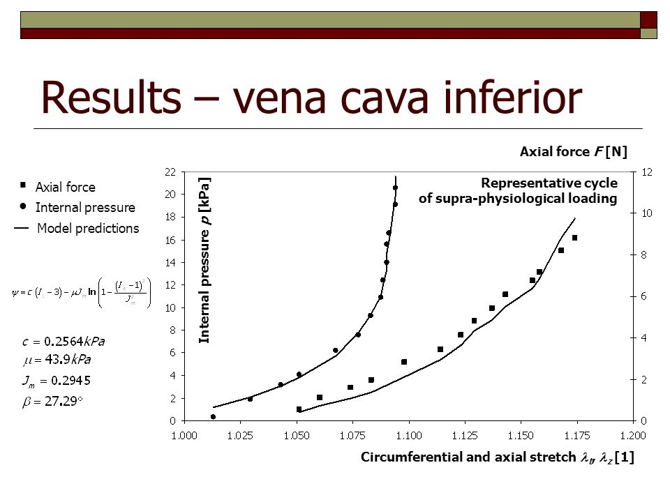 Results – vena cava inferior Axial force F [N] Internal pressure p [kPa] Representative cycle of supra-physiological loading Circumferential and axial stretch t, z [1]  Axial force Internal pressure Model predictions