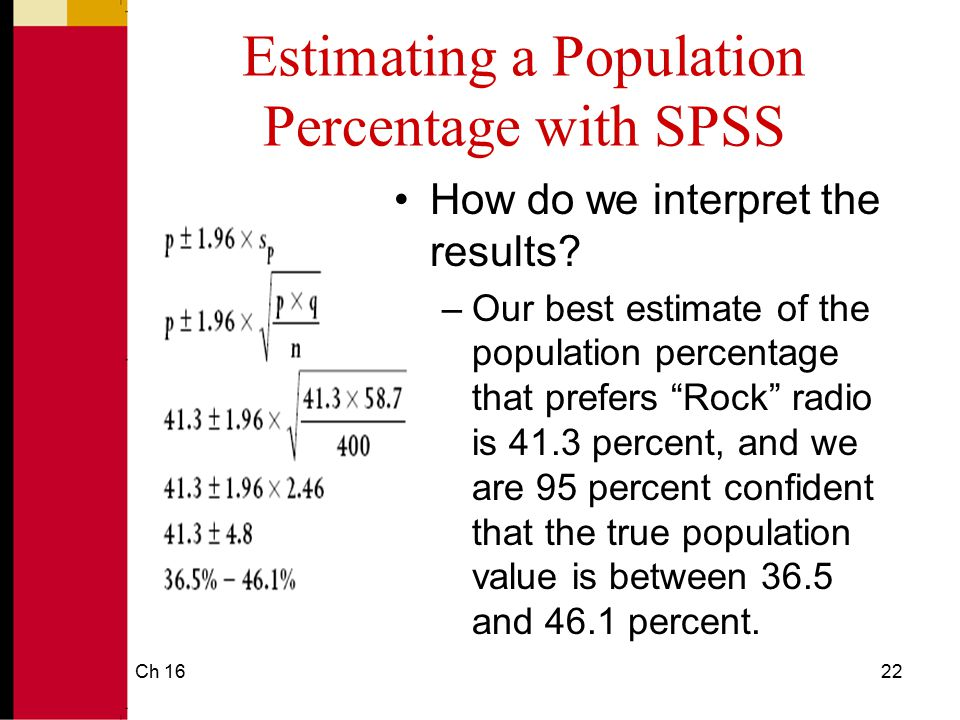 Ch 1623 Parameter Estimation Using SPSS: Estimating a Mean SPSS will calculate a confidence interval around a mean sample statistic.