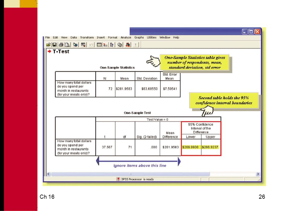 Ch 1627 Parameter Estimation Using SPSS: Estimating a Percentage Estimating a Percentage: SPSS will not calculate for a percentage.