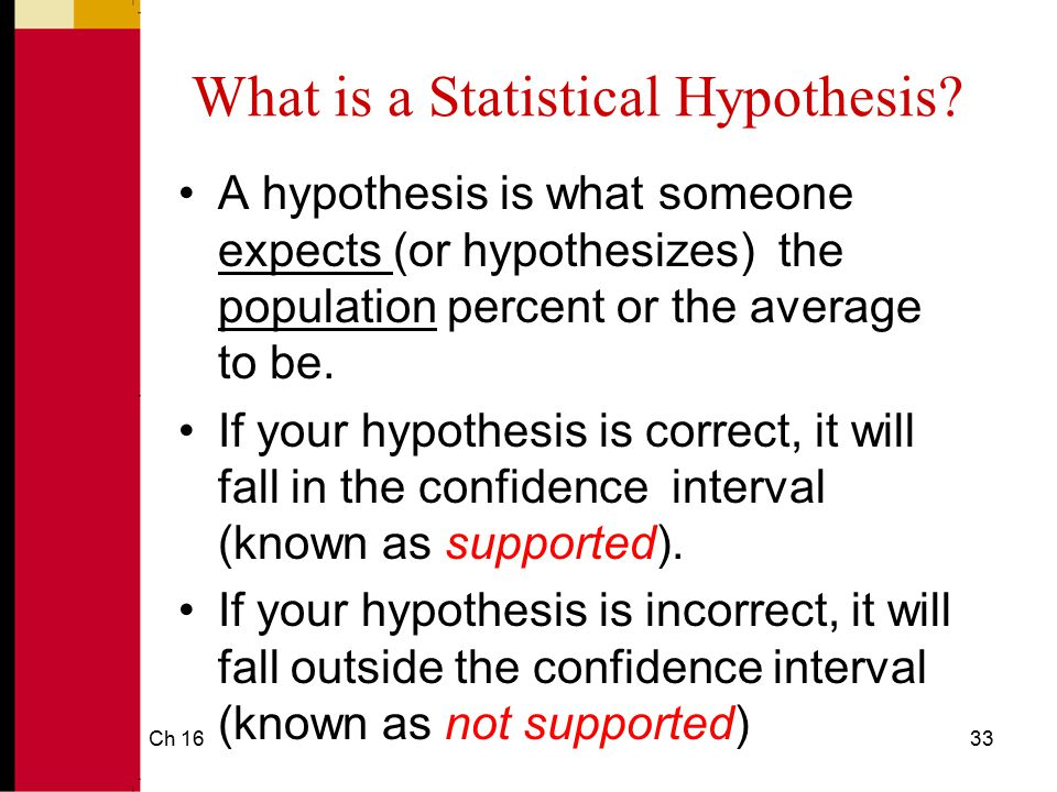 Ch 1634 How a Hypothesis Test Works Sample ----- Population Exact amount---- Uses sample error percent-----Test against Ho average-----Test against Ho Test hypothesis