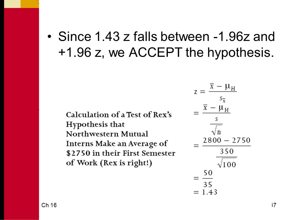 Ch 1638 How to Test Statistical Hypothesis 2.5% 95% -1.96 +1.96 Supported Not Supported