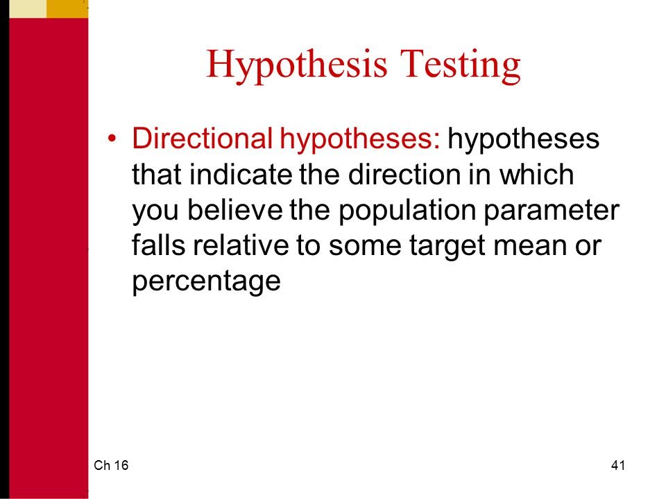 Ch 1642 Using SPSS to Test Hypotheses About a Percentage SPSS cannot test hypotheses about percentages; you must use the formula.
