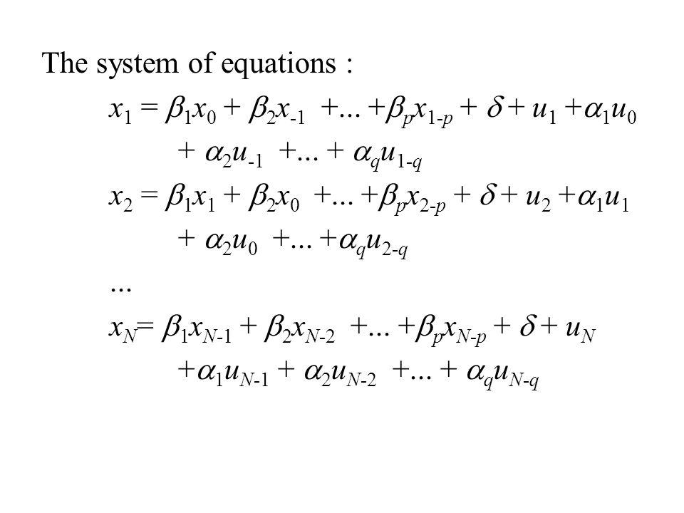 The system of equations : x 1 =  1 x 0 +  2 x -1 +... +  p x 1-p +  + u 1 +  1 u 0 +  2 u -1 +... +  q u 1-q x 2 =  1 x 1 +  2 x 0 +... +  p