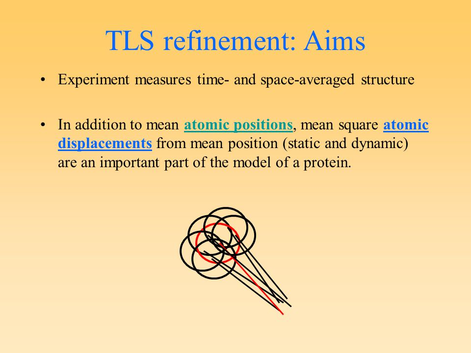 Experiment measures time- and space-averaged structure In addition to mean atomic positions, mean square atomic displacements from mean position (static and dynamic) are an important part of the model of a protein.