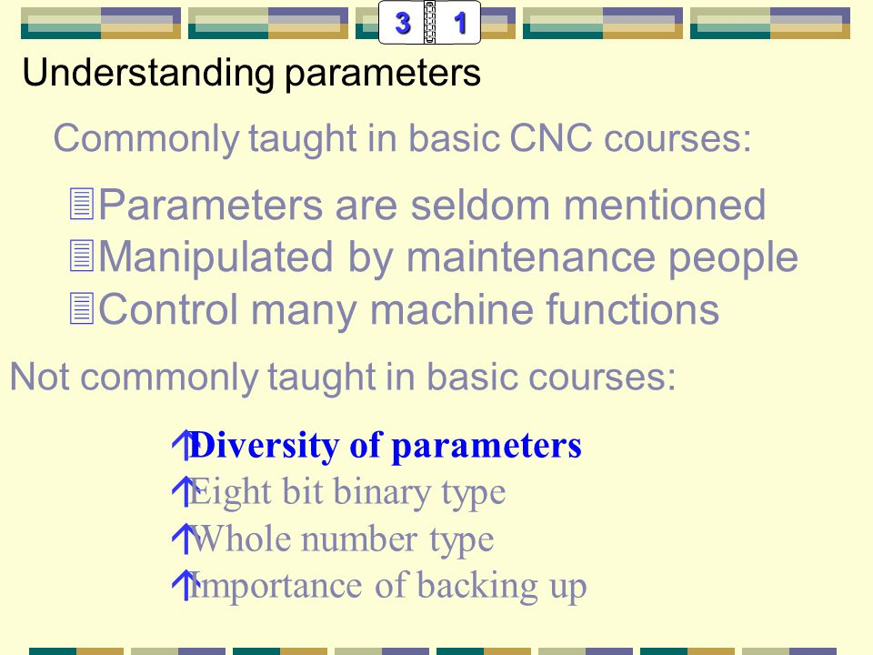 31 Commonly taught in basic CNC courses: 3Parameters are seldom mentioned 3Manipulated by maintenance people 3Control many machine functions Understanding parameters áDiversity of parameters áEight bit binary type áWhole number type áAxis type Not commonly taught in basic courses: Many are of importance to CNC programmers.